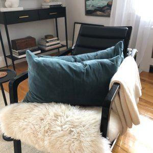 Pair of Velvet Down Filled Lumbar Pillows